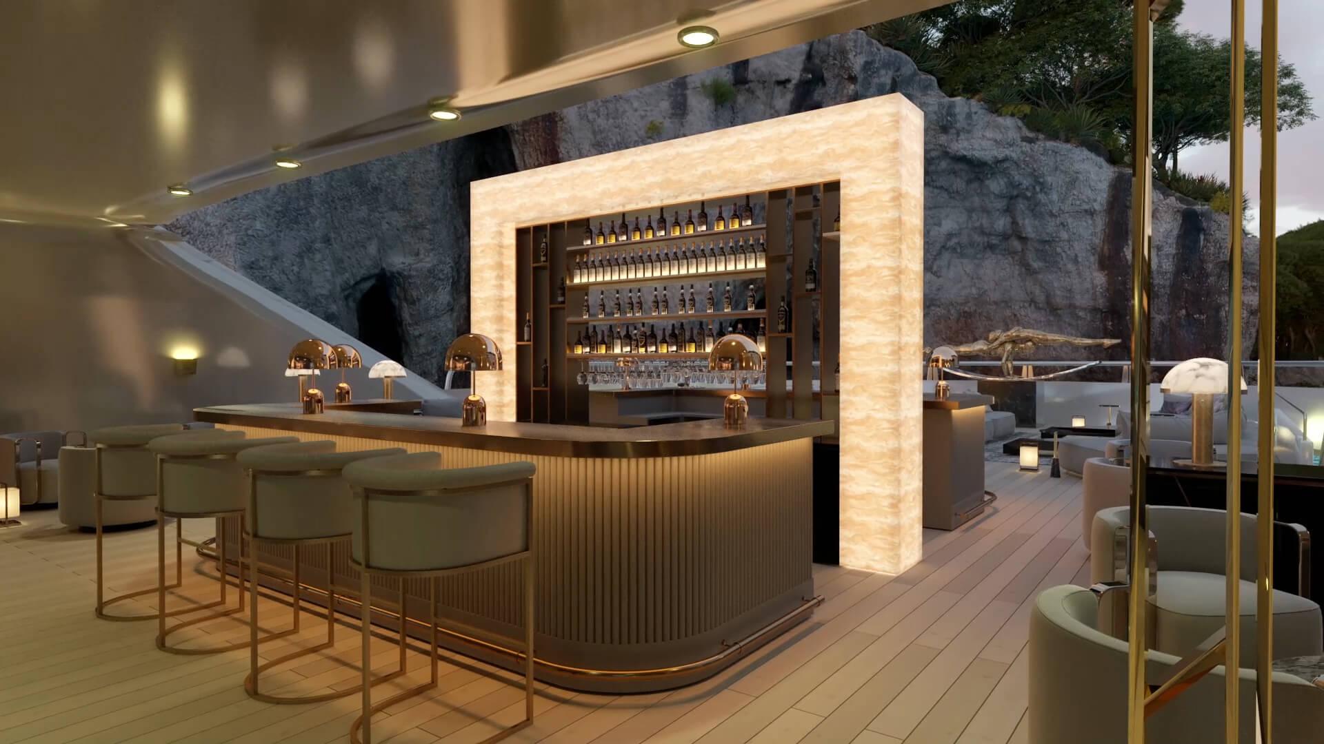 Bar on yacht